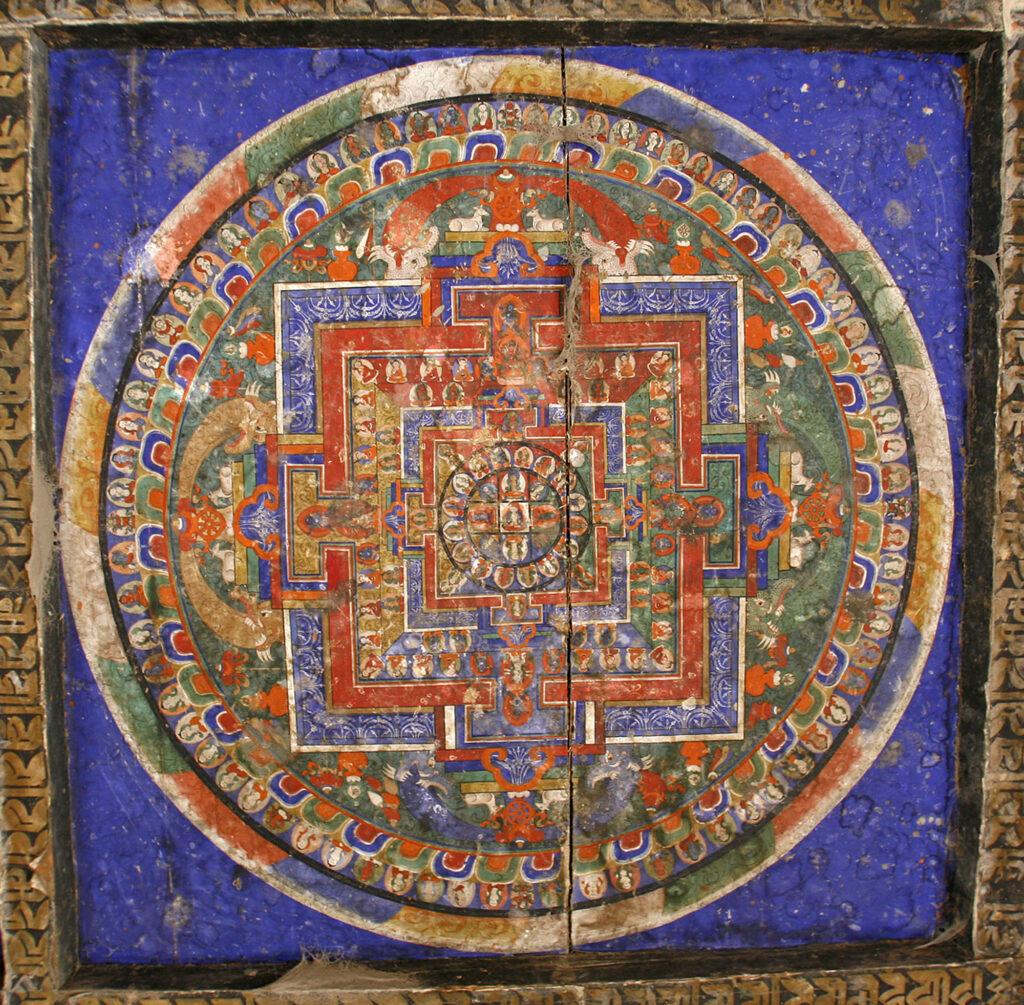 Tibetan mandala painting on monastery ceiling, Kagbeni, Nepal