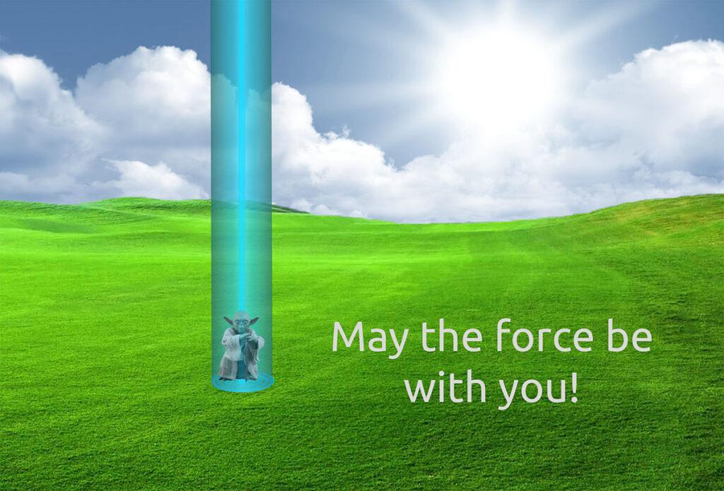 A light blue vortex of energy