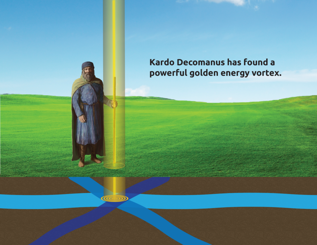 A golden vortex of energy, the result of a crossing of three water veins.